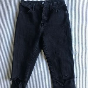 UO Black Ripped High Rise Skinny Jeans